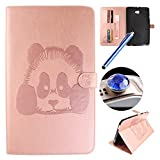 Samsung Galaxy Tab A 10.1'/T580 Leather Case,Samsung Galaxy Tab A 10.1'/T580 Flip Case,Etsue Cute Panda Design Soft Back Cover Pu Leather Magnetic Bookstyle Leather Wallet Case Cover with Stand and Card Holder for Samsung Galaxy Tab A 10.1'/T580+Blue Stylus Pen+Bling Glitter Diamond Dust Plug(Colors Random)-Panda,Rose Gold