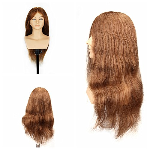 HAIR WAY 24inches Mannequin Head 100% Real Human Hair Hairdresser Training Head With Shoulder Manikin Cosmetology Doll Head for Hair Styling and Training Competition #8 (Not with Table Clamp - Mannequin Competition