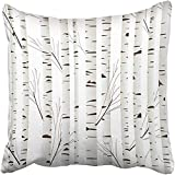 Staroutah Black Bark with Birch Wood Trees Over White Orange Forest Graphic November Abstract Artistic Autumn Grove Throw Pillow Cover Covers 18x18 Inch Decorative Pillowcase Cases Case Two Side