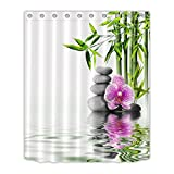 japanese hot stone massage - LB India Spa Zen Buddha Water Yoga Hot Spring Meditation Decoration Shower Curtain Polyester Fabric 3D 60x72 inch Waterproof Massage Stone Orchid Bathroom Bath Curtains Liner Set Hooks