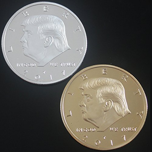 2PCS Set President Donald Trump 2017 Silver and Gold Plated Novelty 40mm Commemorative Coin