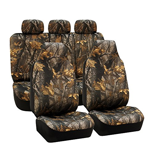 FH Group Universal Fit Full Set Car Seat Cover, (Hunting Camouflage) (Airbag Compatible and Split Bench, Fit Most Car, Truck,...