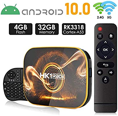 Android 10.0 TV Box 【4GB RAM 32GB ROM】 HK1 Ultra HD 4K Smart TV Box RK3318 Quad Core de 64 bits con Dual-WiFi 2.4G / 5.0G / BT 4.0 / 3D /