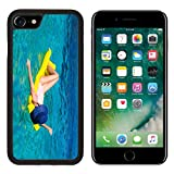 Luxlady Premium Apple iPhone 7 Aluminum Backplate Bumper Snap Case iPhone7 IMAGE ID 31349598 Woman relaxing on inflatable mattress in the sea