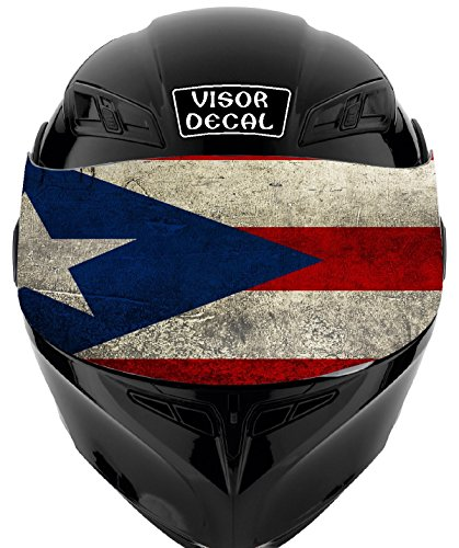 V21 Puerto Rican Flag VISOR TINT DECAL Graphic Sticker Helmet Fits: Icon Shoei Bell HJC Oneal Scorpion AGV ()