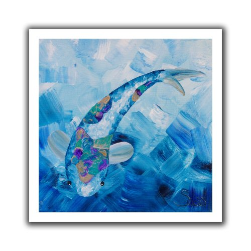 ArtWall Shiela Gosselin 'Blue Koi' Unwrapped Flat Canvas Artwork, 22 by 22-Inch - Flat Koi