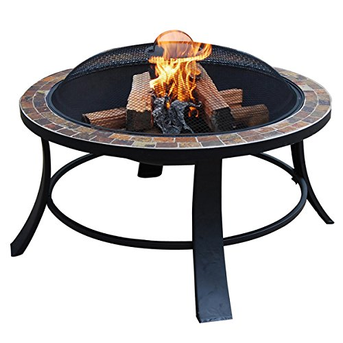 - ALEKO FP012 Compact Round Mosaic Tile Slated Top Fire Pit Complete Kit 30 x 20 x 30 Inches Brown