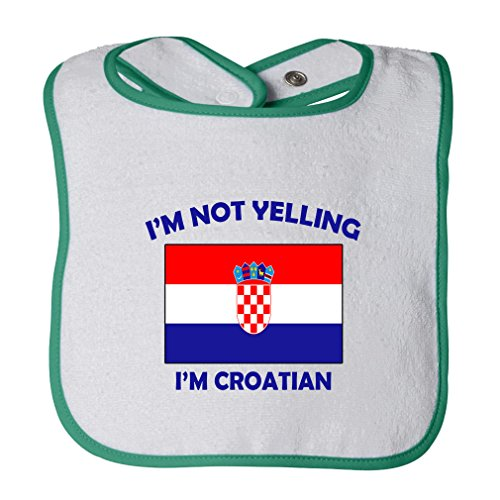 (Cute Rascals I'M Not Yelling I Am Croatian Croatia Tot Contrast Trim Terry Bib White/Green)