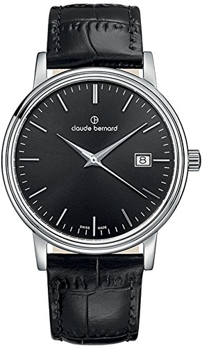 Claude Bernard Men's 53007 3 NIN Classic Gents Analog Display Swiss Quartz Black Watch