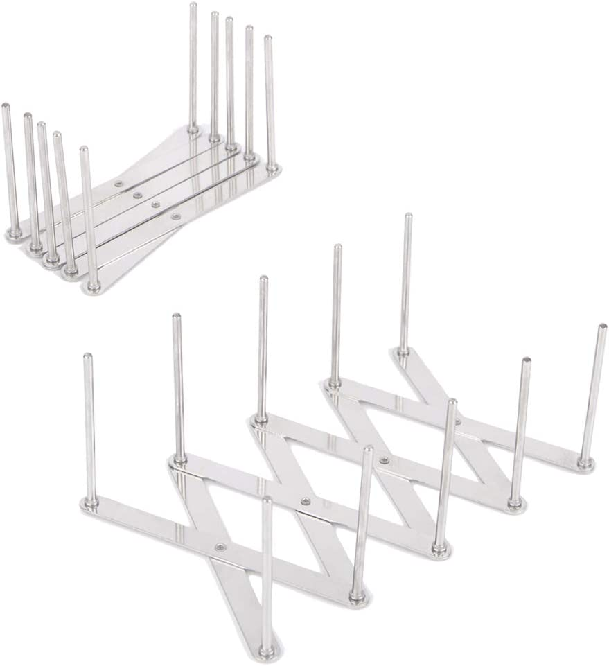KXOYJAD Rib Rack(2 Pack), Roast Rib Holder for Smoker, Stainless Steel Rib Holder, Adjustable Length BBQ Rack for Grill