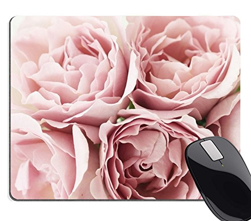 Wknoon Vintage Pink Roses Rugosa Flower Personality Designs Mouse Pad, Retro Floral Art Mouse Pads Large Mat Custom