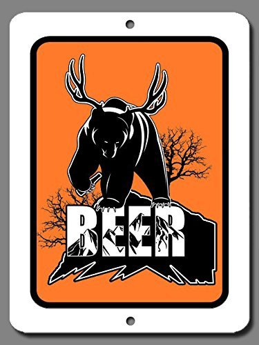 - HarrodxBOX Funny Beer Bear Deer Metal Signs Funny Aluminum Sign for Garage Home Yard Fence Driveway