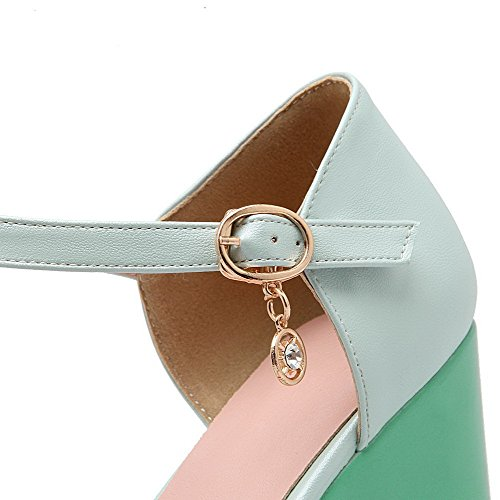 AllhqFashion Women's Soft Material Open Toe High Heels Buckle Solid Sandals Blue cE0kpg