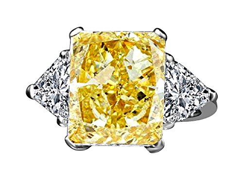 Triangular Womens Ring - Diamond Veneer - 10 CT.(14x11mm) Radiant Center Classic Style Settings Engagement Ring W/Two 1ct Triangular Sides (Canary, 7)