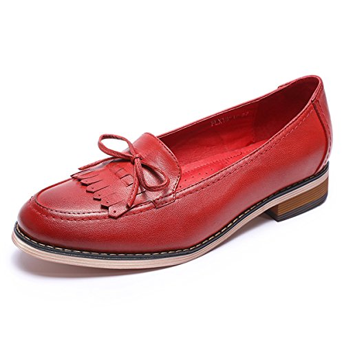 Women Genuine Shoes Flying Original Shoes Women Pumps Flats Leather Handmade Red Loafers Lady Mona for qg5n1U1w