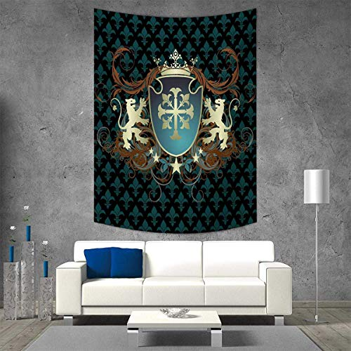 smallbeefly Medieval Home Decorations Living Room Bedroom Heraldic Design a Middle Ages Coat Arms Cross Crown Lions Swirls Wall Art Home Decor 70W x 84L INCH Teal Black Cinnamon ()