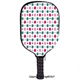 AngelDOU Geometric Soft Neoprene Pickleball Paddle Racket Cover Case Cute Doodle Spirals in Vibrant Effects Childish Rounds Image Decorative Fit for Most Rackets.Magenta Pale Pink Petrol Blue