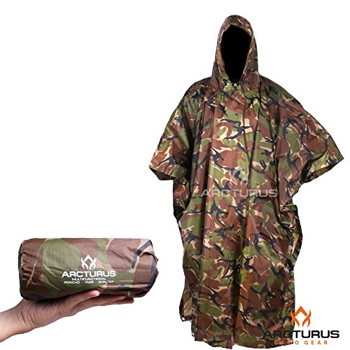 - Arcturus Rain Poncho: Lightweight Ripstop Nylon Poncho with Adjustable Hood. Multipurpose, Large, Waterproof Design - Makes a Great Tarp, Backpacking Ground Cloth & Emergency Shelter (Camo)