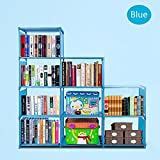 Anfan Bookcase 9-Cubes Book Shelf Office Storage Shelf Plastic Storage Cabinet for kids (Blue)