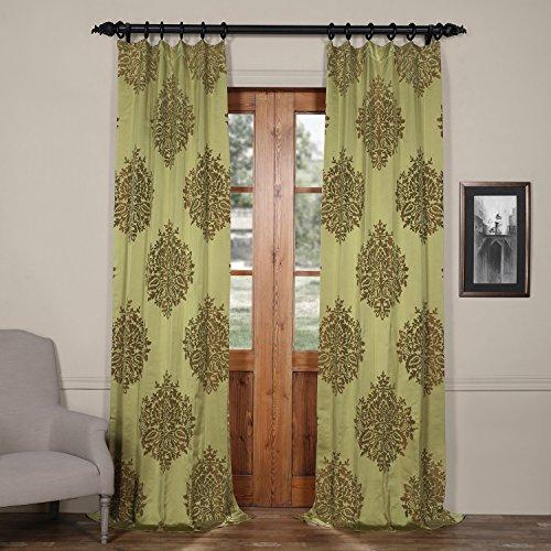 Half Price Drapes JQCH-20160736-108 Ellaria Faux Silk Jacquard Curtain,Mantis Green,50 X 108