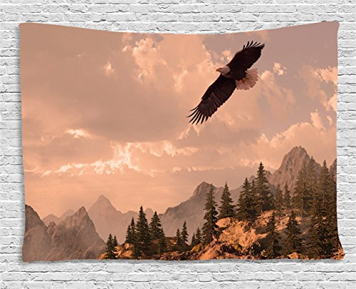 Eagle Tapestry by Ambesonne, Nature Photography of Rocky Mountains and Forest with a Bald Eagle Flying over It, Wall Hanging for Bedroom Living Room Dorm, 80 W X 60 L Inches, Rose Green - Eagle Tapestry