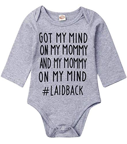 (Newborn Baby GOT My Mind ON My Mommy Funny Bodysuits Rompers Outfits Blue (Gray Long Sleeve,3-6M))