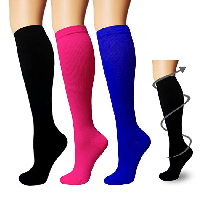 fb6e0a3641d59d 3 Pairs Knee High Graduated Compression Socks For Women and Men - Best  Medical