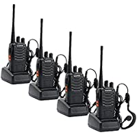 Sunreal Walkie Talkies 4pcs UHF 400-470Mhz 16 Channel Rechargeable Long Range Portable Handheld Two Way Radio CTCSS DCS with LED Light for Camping Hiking Hunting Travelling