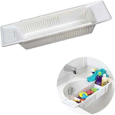 Youlin Pont De Baignoire Plastique,Multifonctionnel,Extensible,Support De Rangement Pour Baignoire