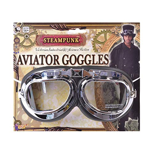 Forum Novelties Men's Steampunk Victorian Aviator Goggles, Black/Silver, One Size -