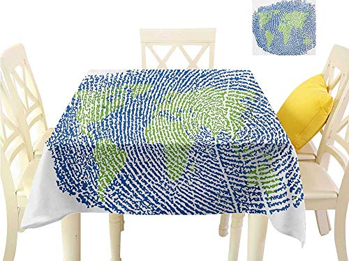 familytaste Christmas Tablecloth World Map,Map of The World Fingerprint Style Continents Asia Europe Africa America,Navy Blue Green Table Runner Cloth Cover W 50