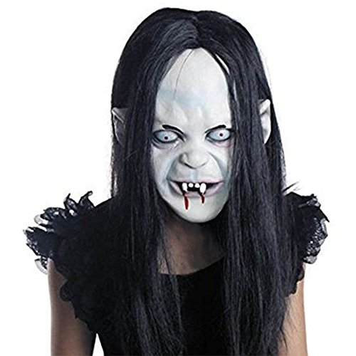 CycleMore Halloween Ghost Mask Horror Grimace Latex Mask Scary Zombie Emulsion Skin with Hair Creepy Goblins Toothy Zombie Ghost Mask Costume Party Cosplay Halloween Mask -