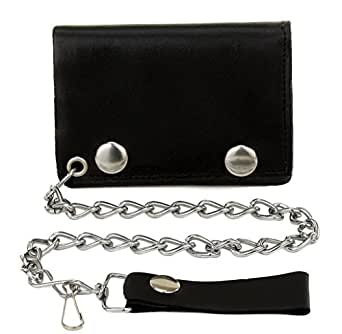 Mens Made In USA Trucker Biker Motorcycle Black Leather Steel Chain Trifold Wallet