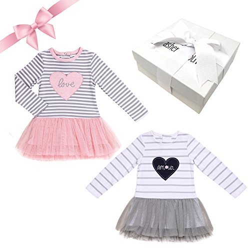 Baby Girl Gift Set – 2 Piece Adorable Tutu Hearts Dresses in a Gift Box. Unique Gift Ideas for Baby Showers (3-6 Months)