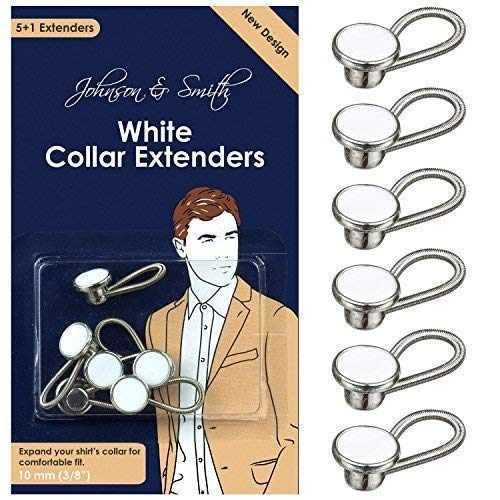 White Metal Collar Extenders by Johnson & Smith - Stretch Neck Extender for 1/2 Size Expansion of Men Dress Shirts, 5 +1 Pack, 3/8