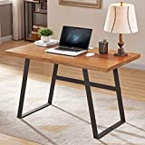 BON AUGURE Wood Computer Desk for Home Office, Rustic Writing Desk, Industrial Desk Table (47 inch, Mahogany)