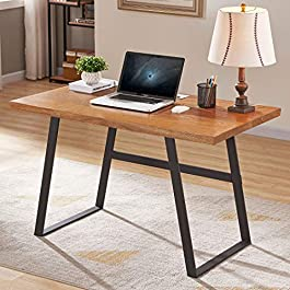 BON AUGURE Rustic Wood Computer Desk, Industrial P...