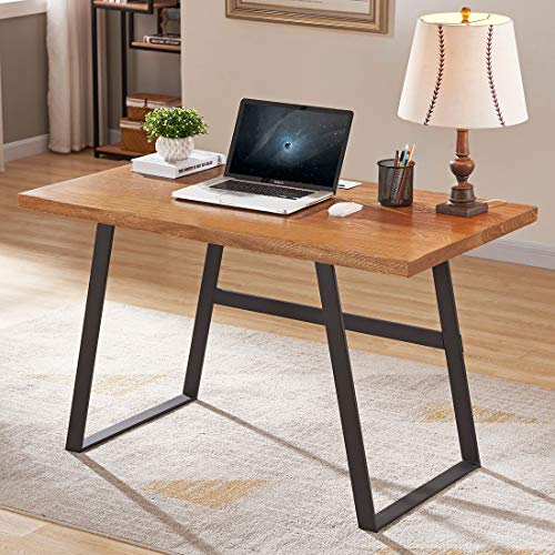 (BON AUGURE Wood Computer Desk for Home Office, Rustic Writing Desk, Industrial Desk Table (47 inch, Cherry))