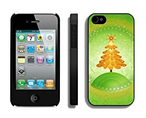 Provide Personalized Customized Orange Christmas tree Black iPhone 4 4S Case 1
