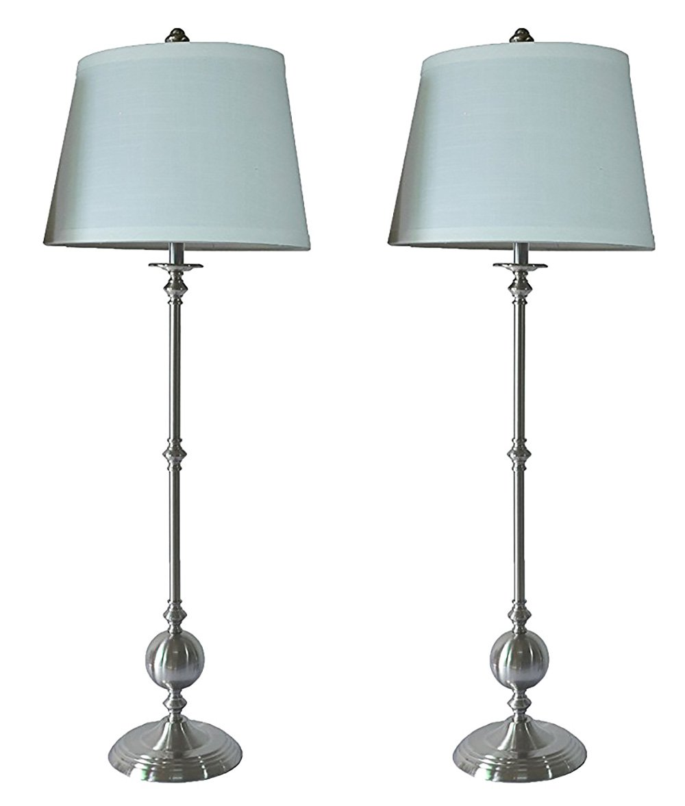 Urbanest Set of 2 Bastille Buffet Lamps in Brushed Nickel with Off White Linen Shades