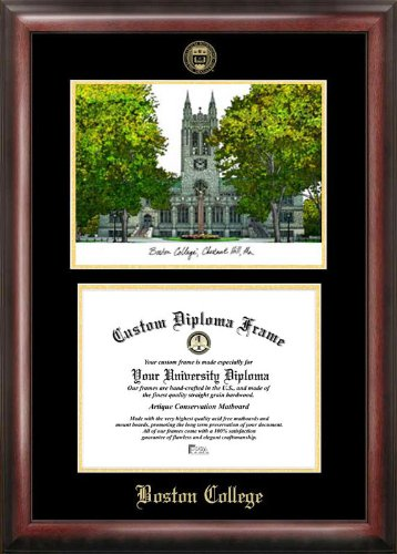 Boston College Diploma Frame - Boston College Gold embossed diploma frame with Campus Images lithograph