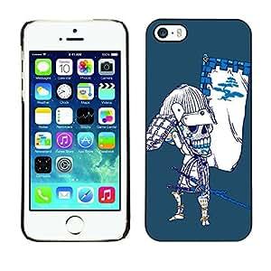YOYO Slim PC / Aluminium Case Cover Armor Shell Portection //Cool Japanese Sugar Skull Samurai Bow Skeleton //Apple Iphone 5 / 5S