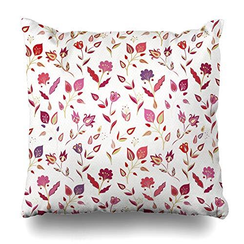 Ahawoso Throw Pillow Cover Medieval Lace Floral Pattern Jacobean Chrysanthemum Arabic Batik Arabian Carpet Design Zippered Pillowcase Square Size 16 x 16 Inches Home Decor Cushion Case - Robe Envelope Cotton Red