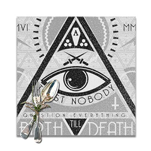 (Placemats Square Set of 6 for Dining Room Kitchen Table Decor, Birth Till Death Print Table Mats)