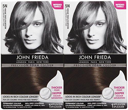 John Frieda Precision Foam Hair Colour, Medium Natural Brown 5N, 2 pk - Professional Hair Colour