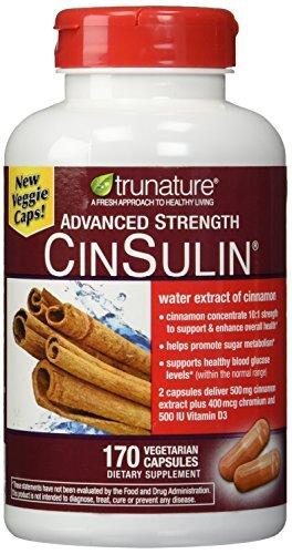 TruNature Advanced Strength Cinsulin Cinnamon, Chromium Picolinate, Vitamin D3 Cinnamon 500 Mg, Chromium Picolinate, 400 Mcg, Vitamin D3, 500 Iu , 170 Capsules by TruNature by TruNature