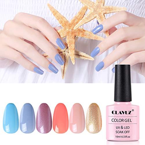 Gel Nail Polish Set - 6 Pcs Soak Off Nail Art Manicure Varnish Set Gel Nail with Gift Box 10ml, Require LED UV Nail Dryer Lamp