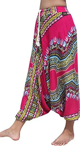 Raan Pah Muang RaanPahMuang Light Rayon Dashiki Africa Print Elastic Pullstring Waist Baggy Pants, Medium, Pink by Raan Pah Muang