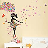 Wallpark Colorful Flower Butterfly Fairy Girl Holding Flower Umbrella Removable Wall Sticker Decal, Children Kids Baby Home Room Nursery DIY Decorative Adhesive Art Wall Mural