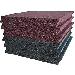 12 Pack- Burgundy/Charcoal Acoustic Panels Studio Foam Wedges 1\